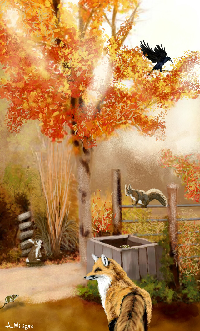 """#wdpautumncolors  """"Autumn nature""""  My second entry for Autumn colours 😊   #colorful  #colorsplash  #cute  #petsandanimals  #nature  #animal  #autumn  #trees  #country  #draw 😊❤💚"""