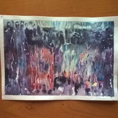 rain watercolor aquarelle london redbus