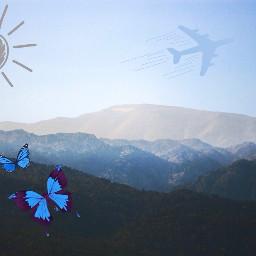freetoedit mountains butterflies sky sun
